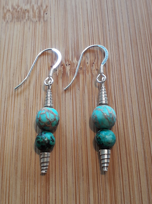 African turquoise/jasper earrings