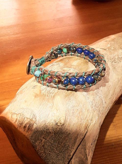 Vegan leather  bracelet agua aura vintage/ lapis lazuli