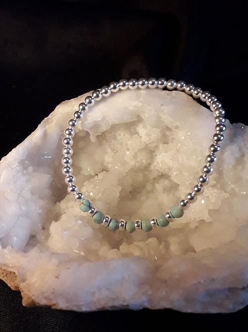 St.silver bead bracelet/ blue jasper beads