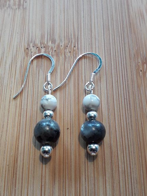 Labradorite/howlite earrings