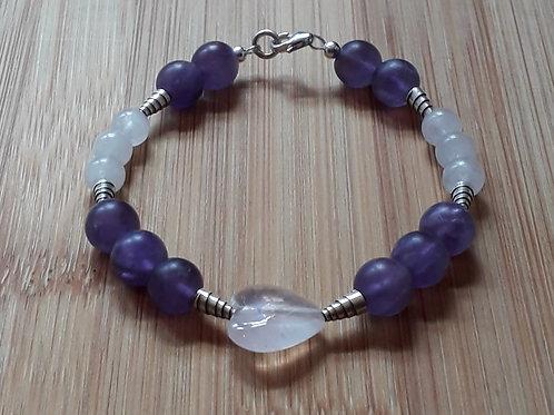 Matt amethyst/rose quartz bracelet