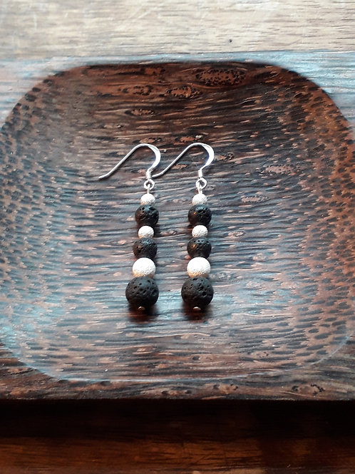 Lava/ frosted silver beads earrings