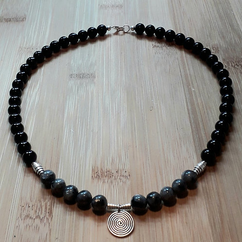 Labradorite/ Onyx necklace