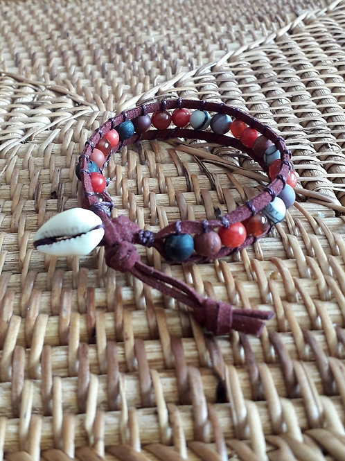 Vegan suede bracelet coral/carnelian....