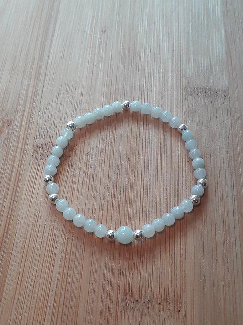 Amazonite/ silver beads bracelet elasticated