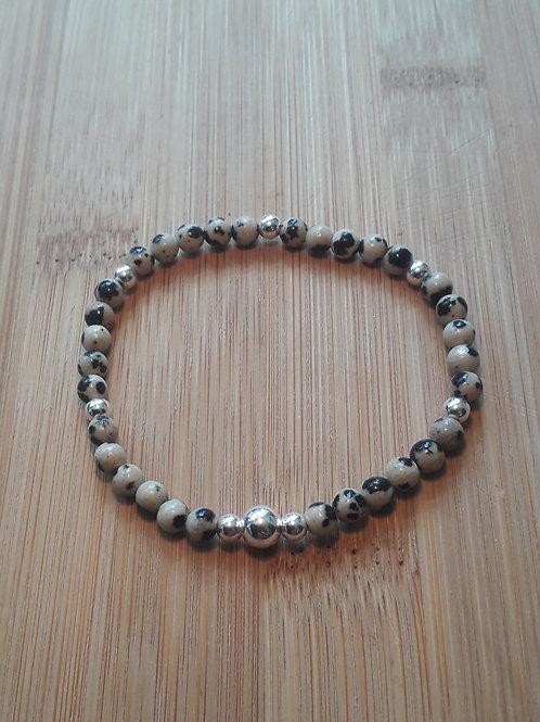 Dalmation jasper bead bracelet elasticated