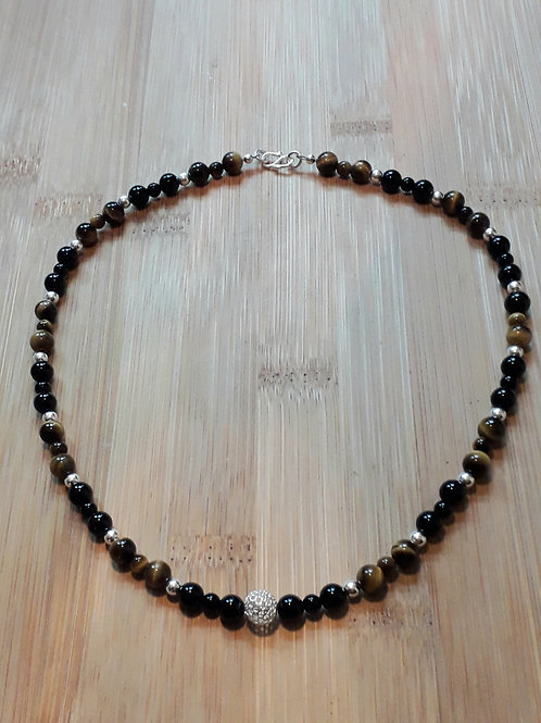 Tiger eye/onyx necklace