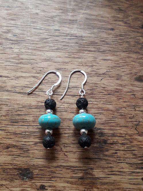 Lava/turquenite earrings