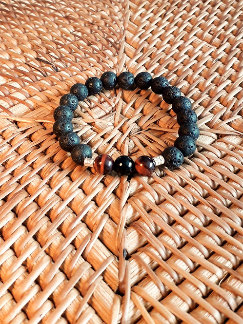 Lava/red tiger eye/onyx unisex bracelet