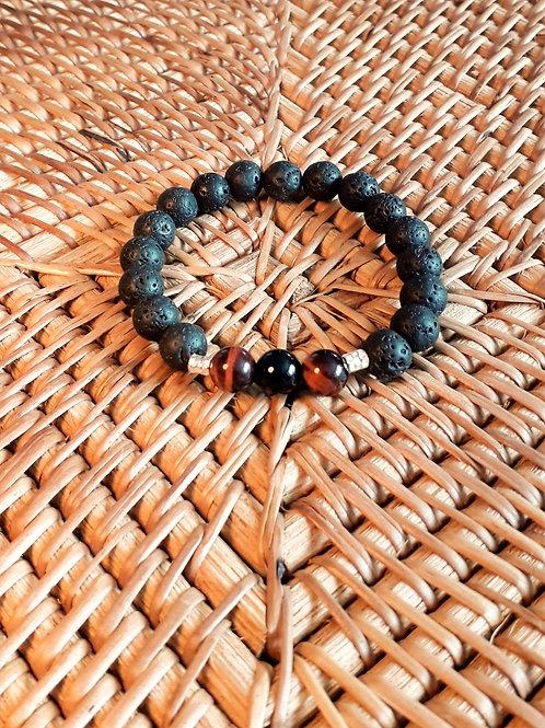 Lava/red tiger eye/onyx unisex bracelet
