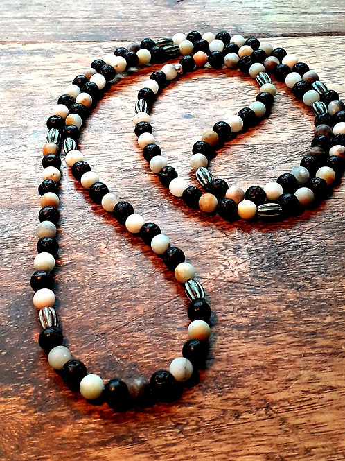 Lava / amazonite beads necklace