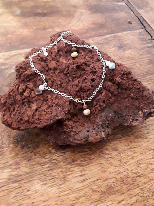 Silver anklet with amazonite/red creek jasper