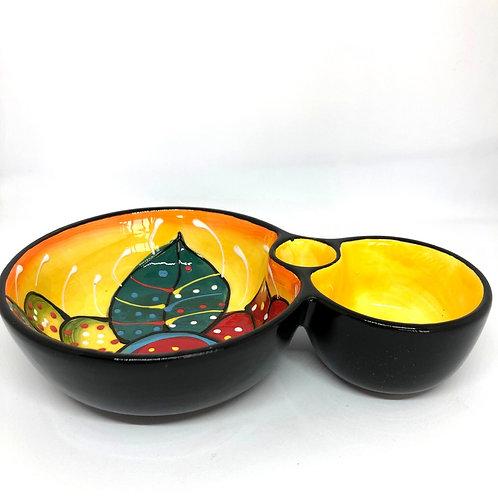 Ceramic Collection - Olive & Olive pit bowl 'Dotted Flower'