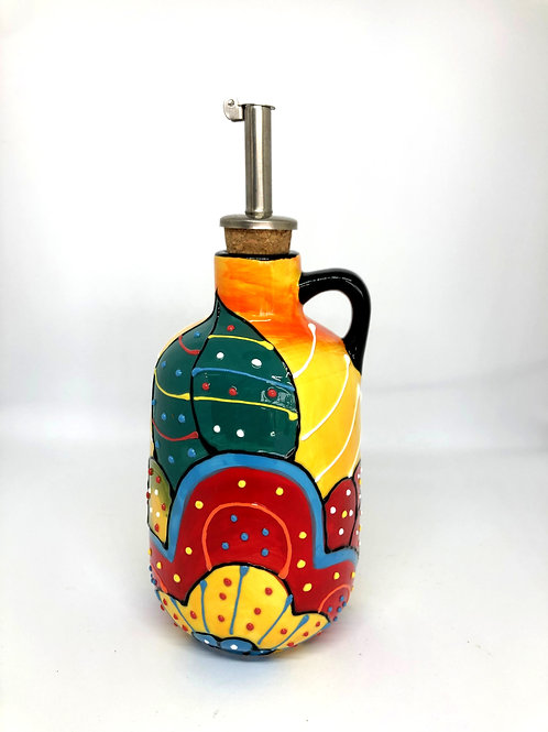 Ceramic Collection - Olive Oil Bottle 'Dotted Flower'