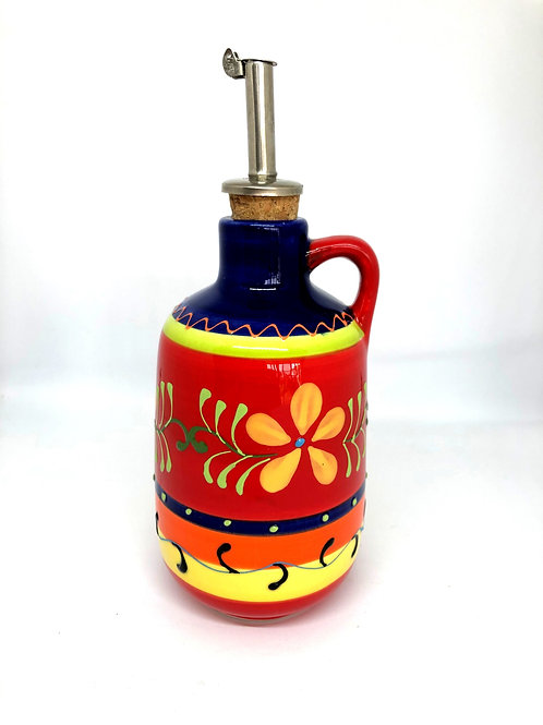 Ceramic Collection - Olive Oil Bottle 'Yellow Flower'