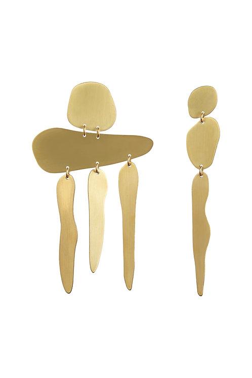 Gia Fall Earrings in Brushed Brass
