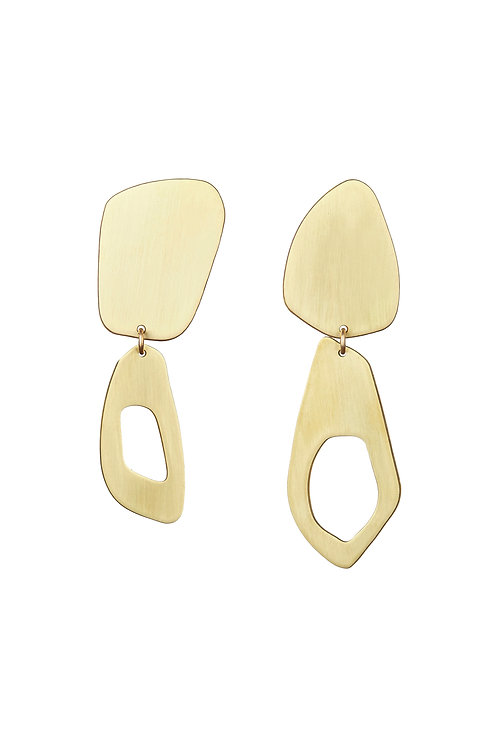 Calvino Feather Earrings in Brushed Brass