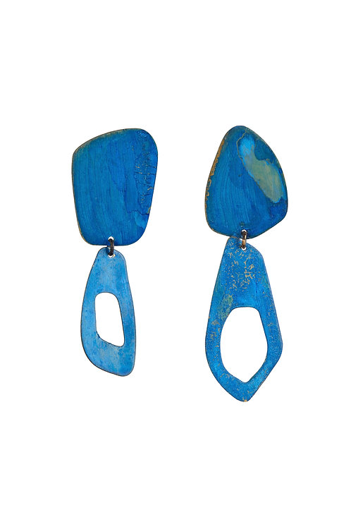 Calvino Feather Earrings in Blue