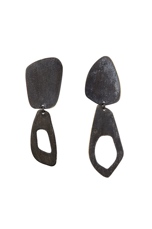 Calvino Feather Earrings in Black