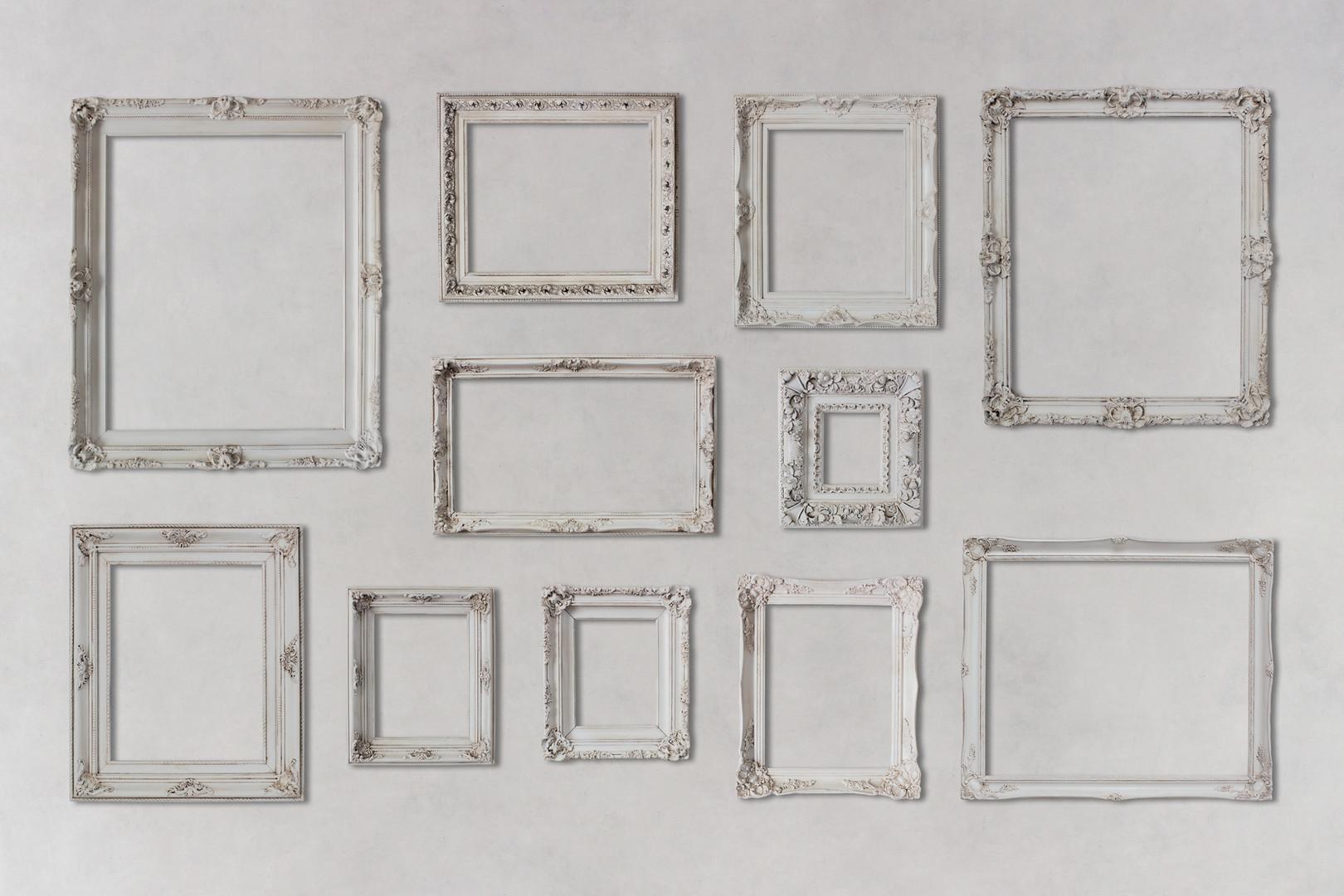 white fram gallery wall