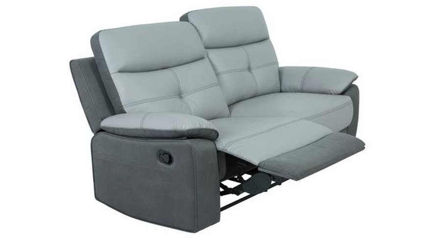 Charles 3 Seater Leather Mix Recliner Sofa