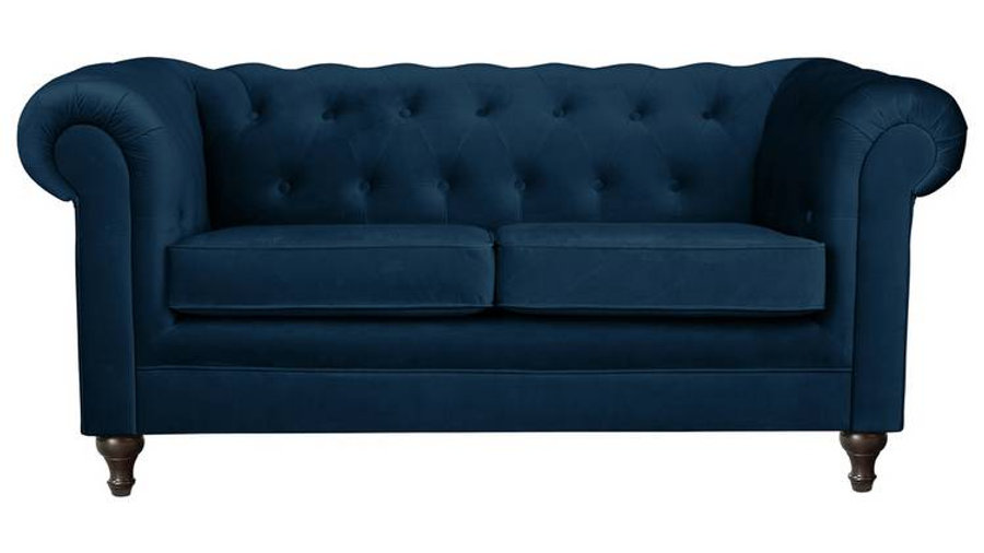Habitat Chesterfield 2 Seater Blue Velvet Sofa