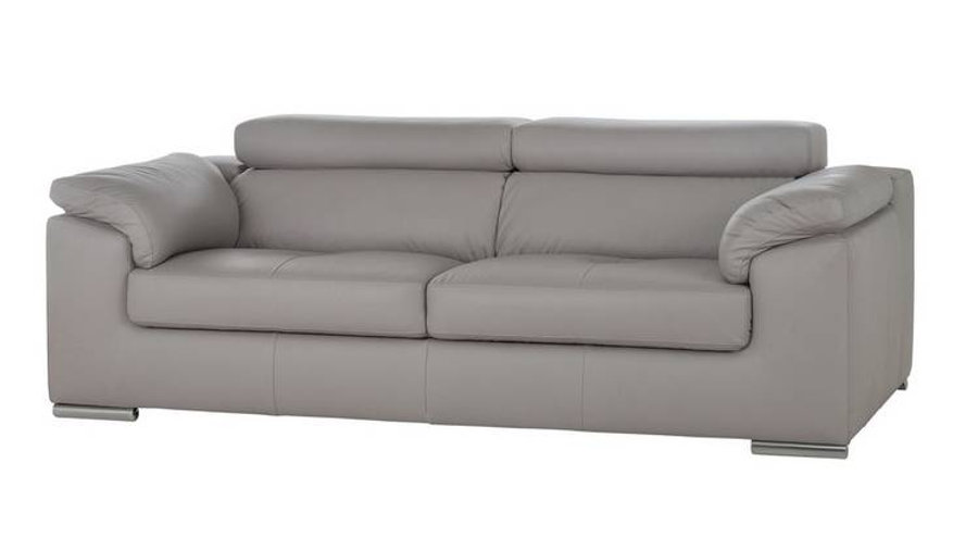 Valencia 3 Leather Sofa Light Grey