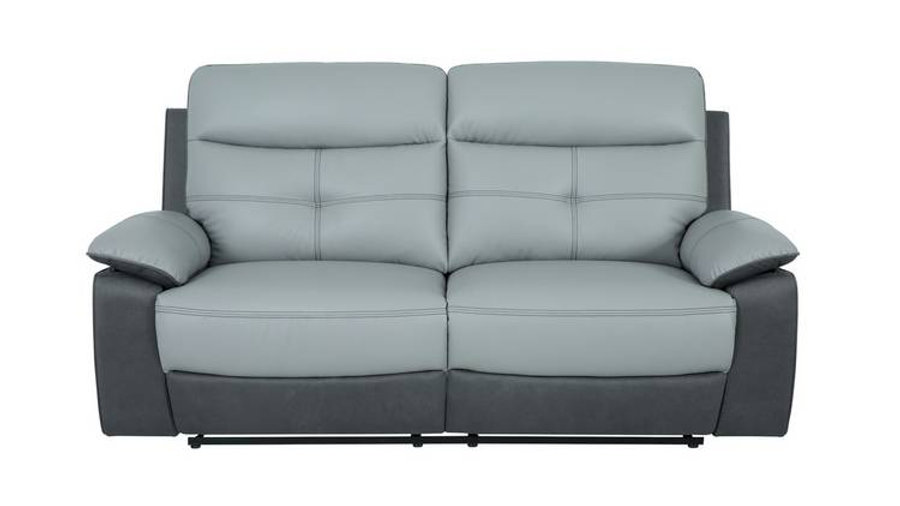 Charles Leather 3 Seat Grey Recliner