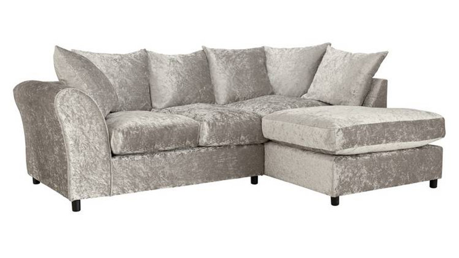 Megan RHCorner Sofa Silver