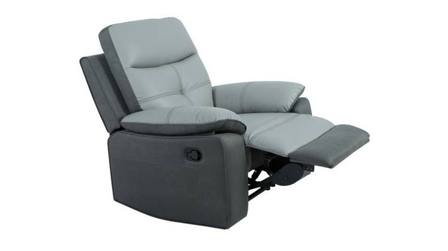 Charles Leather Recliner Chair Grey