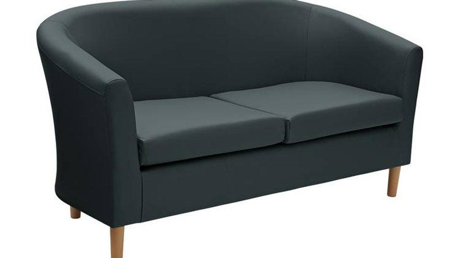 Habitat 2 Seater Faux Leather Tub Sofa - Black