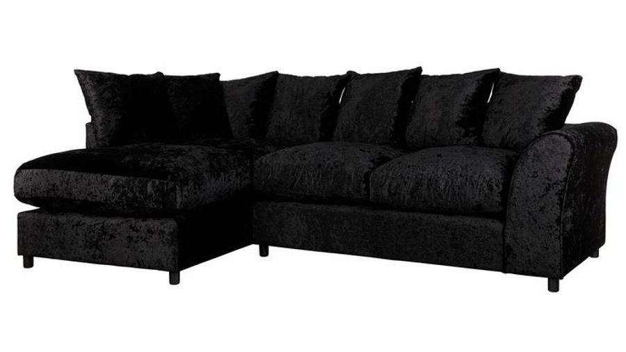 Megan LH Large Corner Chaise Black