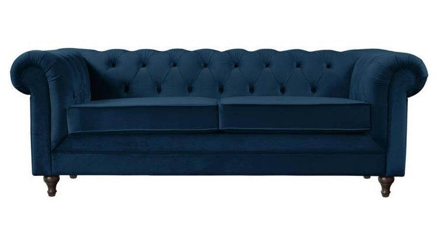 Habitat Chesterfield 3 Seater Sofa - Blue