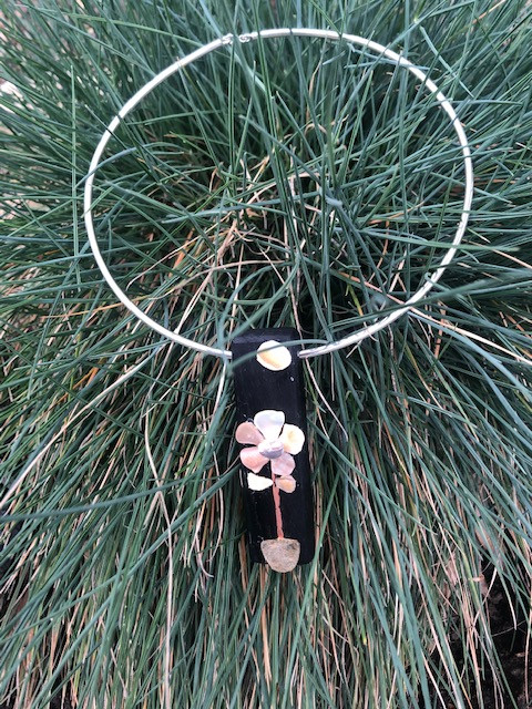 Ancient bog oak, flower designed with shell, stone & copper on sterling silver choker