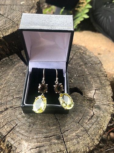Lemon & Smokey Quartz Earrings