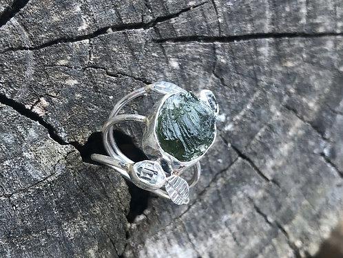 Moldavite Herkimer Diamond And Silver Leaves
