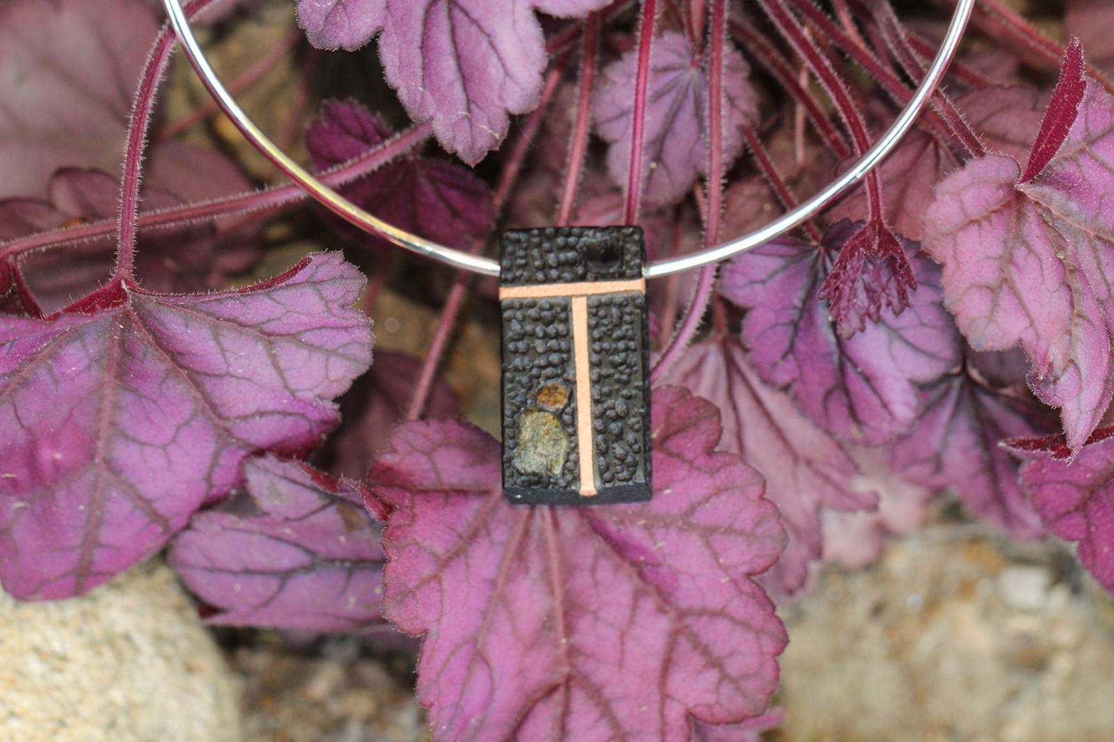 Ancient bog oak, inlay of copper & stone with Irish stone figure on sterling silver choker