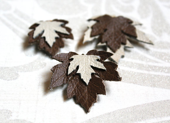 Set of 3 Maple Leaf Leather Hair Clips