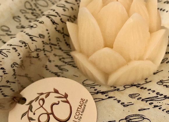 Lotus Flower or Artichoke Heart Beeswax Candle