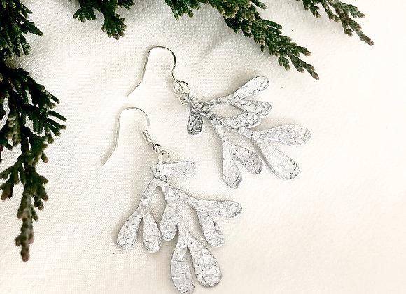 Small Silver Crackle Metallic Leather Mistletoe Dangle Earrings