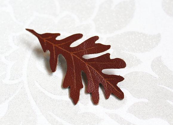 Single Large Oak Leaf Leather Hair Clip