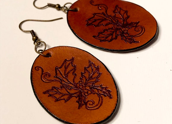 Engraved Leather Vintage Victorian Holly Earrings