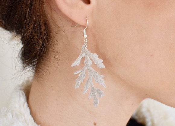 Sage Beige Juniper Leather Leaf Earrings