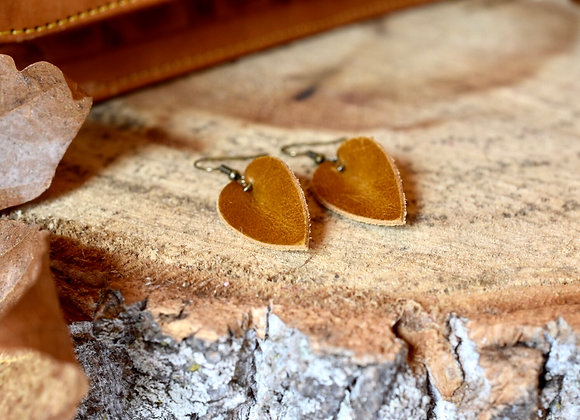 Small Folded Leaf Sienna Brown Leather Earrings