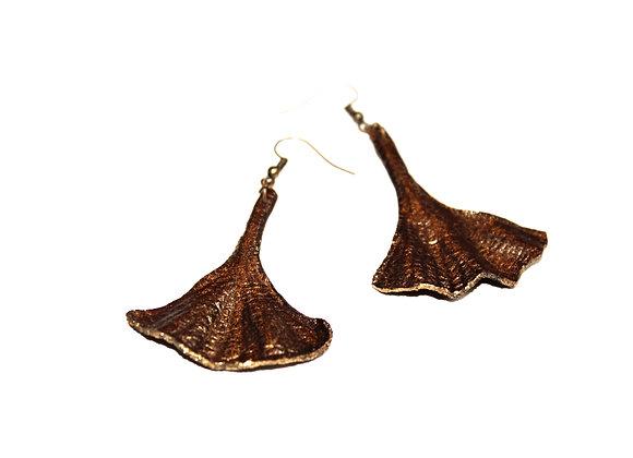 Bronzed Leather Ginkgo Leaf Earrings