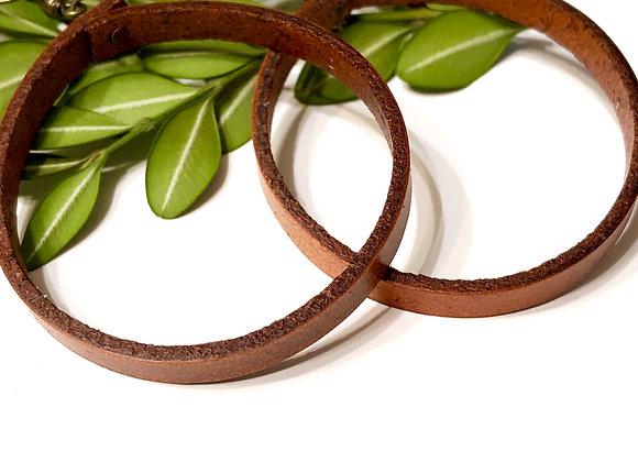 Large Leather Round Hoop Dangle Earrings