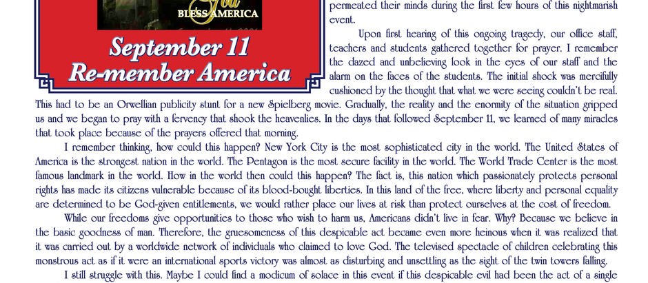 RE-MEMBER AMERICA                                     - A September 11 Message