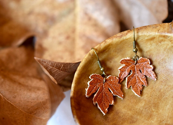 Small Maple Leaf Cognac Leather Earrings