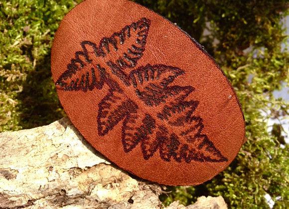 Fern Print Leather Leaf Bangle Cuff Bracelet, Naturalist Botany Sketch Spring Su