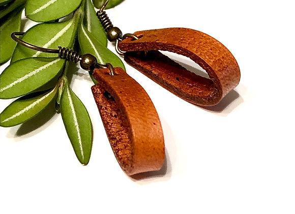 Small Leather Teardrop Hoop Dangle Earrings
